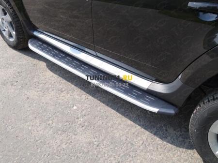 Renault Duster 2015 Пороги алюминиевые с пластиковой накладкой 1720 мм